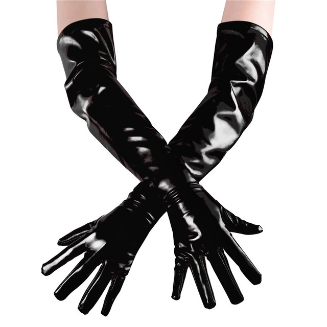 Unicolor Shiny Long Gloves Faux Leather Zentai Gloves Unisex Arm Length Opera Gloves Halloween Party Costume Fancy Accessories