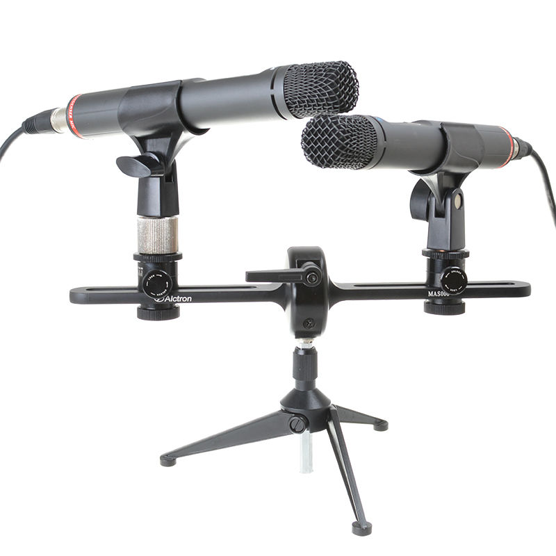 Alctron MAS006 double microphone stand stereo recording dual microphone stand nb 35 rotational professional recording microphone stand holder black white