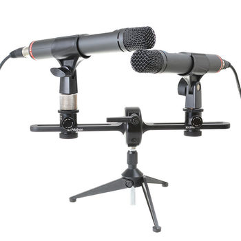 Alctron MAS006 double microphone stand stereo recording dual microphone stand