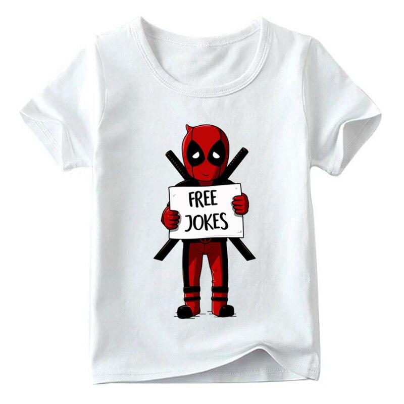 2019 Children Deadpool/one Punch Man/joker Free Jokes Print Funny T Shirt Boys/girls Summer Tops Kids Cartoon T-shirt,hkp5130