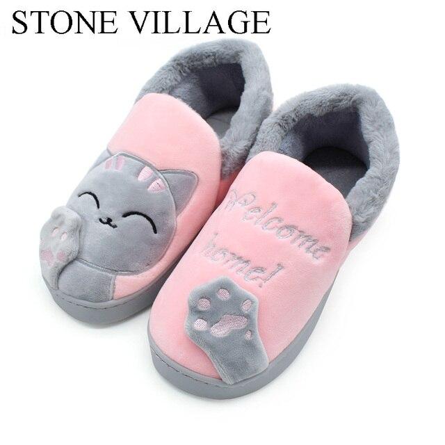 Inverno Chinelos Em Casa Mulheres Homens Amantes Sorte Gato Dos Desenhos Animados de Algodão Sapatos Baixos Saltos de Cobertura Quente de Pelúcia Piso Interior Chinelos Mulheres