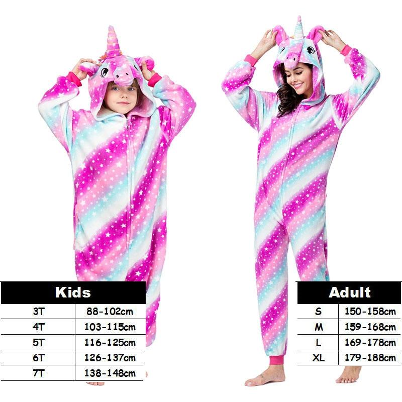 New Style Unicorn Kigurumi Onesie Adult Pajamas Women Warm Soft Pikachu Sleepwear Winter Jumpsuit Pijama Cosplay Family Costumes