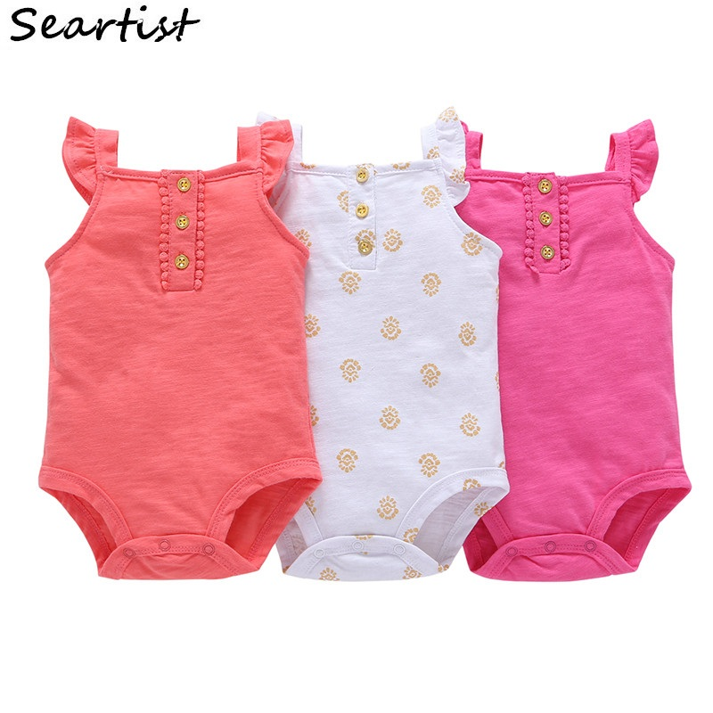 Seartist Wholesale Baby Girls Summer Jumpsuit Infant Newborn Ruffle-sleeved   Rompers     Romper   Baby Girl Clothes 2019 New 50G