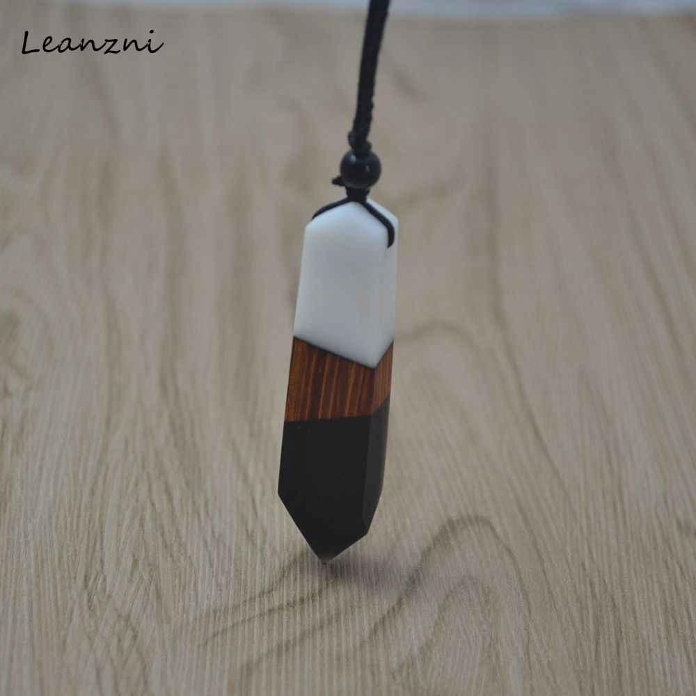 Leanzni New fashion ręcznie drewna naszyjnik z żywicy wisiorek, podwójny kolor wpływ kolor projekt, mężczyźni i kobiety do biżuterii, liny