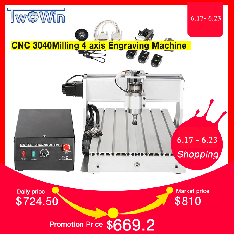 CNC 3040 T-D 4-axis CNC Router Engraver Threads Screw Cutting Milling Drilling Engraving Machine Mimi CNC 3040 300WCNC 3040 T-D 4-axis CNC Router Engraver Threads Screw Cutting Milling Drilling Engraving Machine Mimi CNC 3040 300W