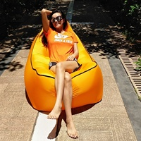 Outdoor Inflatable Sofa Couch Lounge Chair Beach Camp Chaise Longue for Camping Hiking Picnic Mat Garden Bean Bag Air Hammock