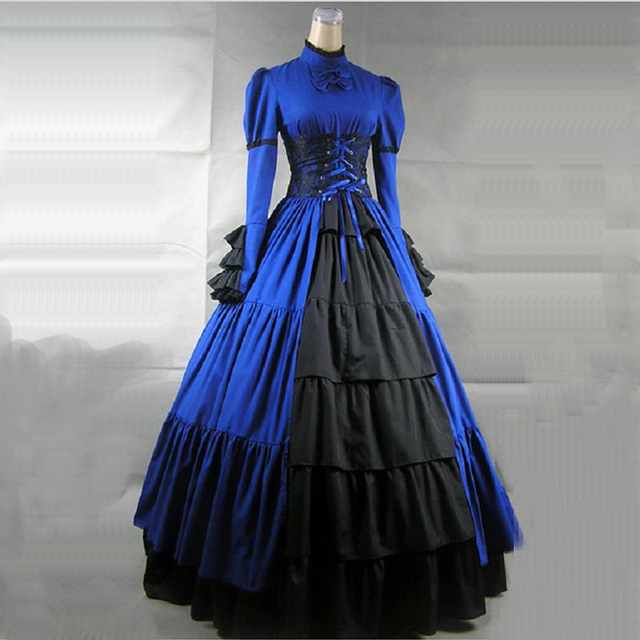 Medieval Gothic Victorian Period Party Dress Autumn Long Sleeve European Court Princess historical Ball Gown Costume 4 Colors