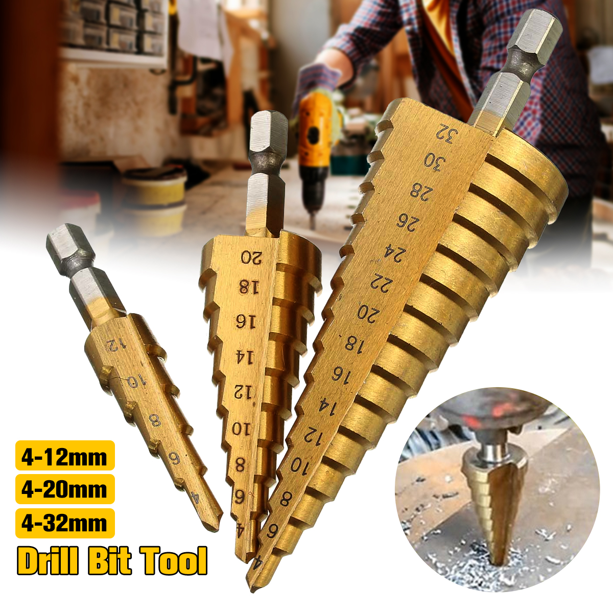 Drillpro 1pcs Titanium HSS Step Drill Bits for Wood 4-12mm 4-20mm 4-32mm Metal Drilling Woodworking Power Tools Wholesale Price drillpro 3pcs hss spiral grooved center drill bit 4 12 20 32mm solid carbide mini drill accessories titanium step cone drill bit