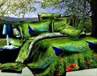 Павлин птица дизайнер постельного белья двуспальное постельное белье покрывало кровать в мешок лист Мода Одеяло белье животных печати жив