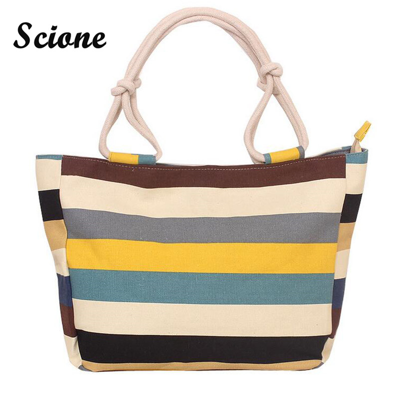 2017 High Quality Large Capacity Shopping Mummy Bag Folding Canvas Women's Strip