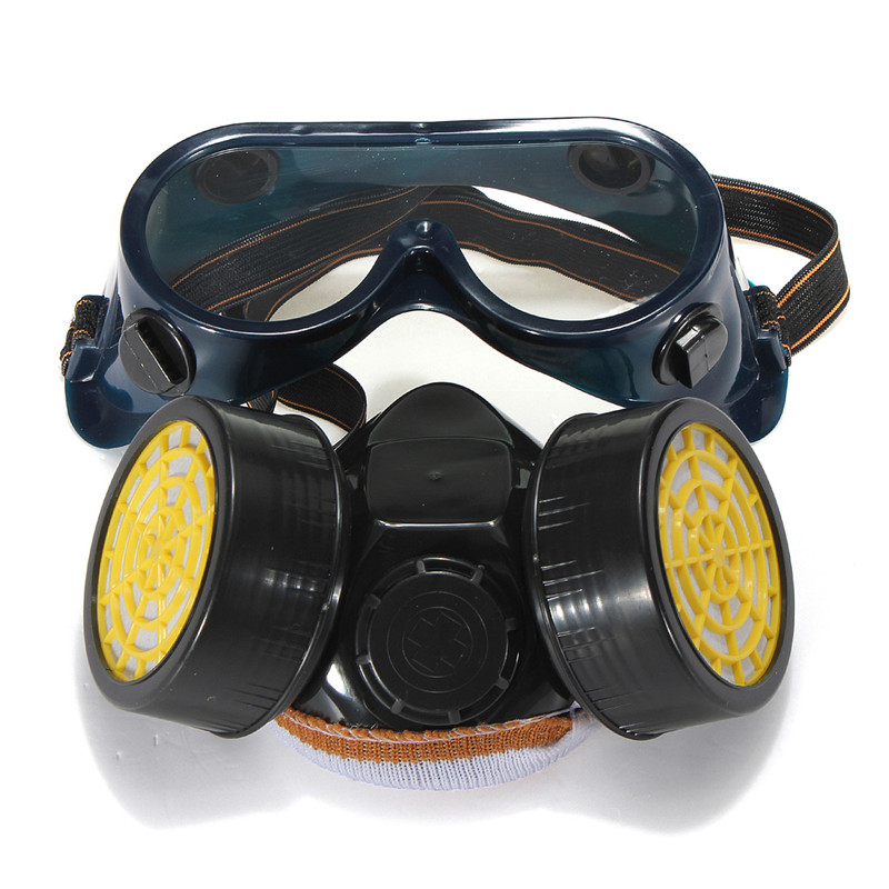 Dual Anti-Dust Spray Paint Industrial Chemical Gas Respirator Mask Glasses Set Black New