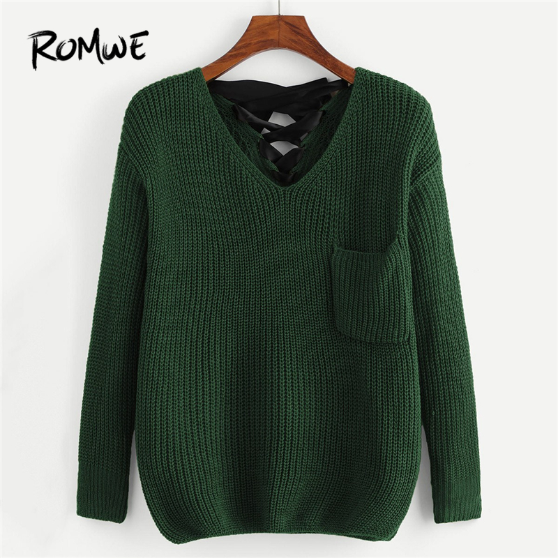 romwe green lace up pocket front sweater women casual