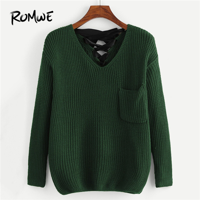 c41b94282f ROMWE Green Lace Up Pocket Front Sweater Women Casual Clothing Womens  Sweaters Winter Clothes V Neck