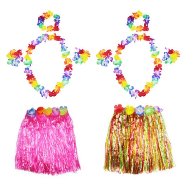 92dbe160e3 5PCS Set Flower Wristband Costume Kids Hawaiian Grass Skirt Luau Garland  Headband Hula Fancy Dress Party and Festival DIY Decor