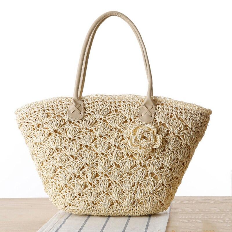 SUDS 2019 Summer Beach Tašky Ženy Handmade tkané Straw Shell hák Flower Tašky přes rameno Žena Vysoce kvalitní Cestování Tote Bag