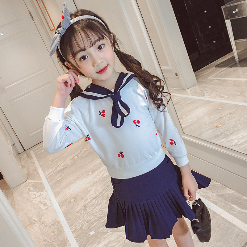 3 4 5 6 7 8 Years Print Clothes Set For Baby Girls Spring School Uniform 2018 Long Sleeve T Shirt + Skirt Toddler Girl Clothing 3pc toddler baby girls clothing denim t shirt tops long sleeve leopard skirt set kids clothes girl outfit