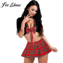 Sexy Women Girls Japanese Schoolgirl Uniform Deep Plunging Neck Crop Top with Plaid Skirt Cosplay Role-playing Games Costume(China)