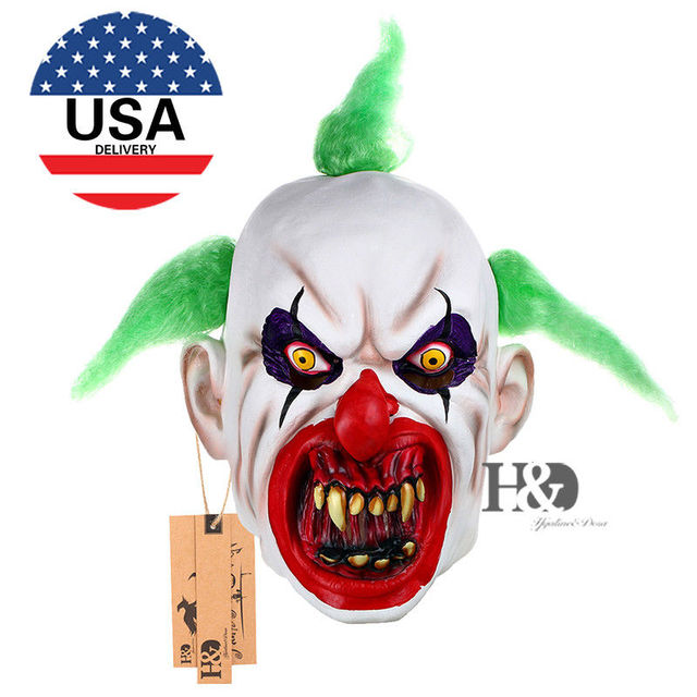 US Scary Clown Mask Green Hair Buck teeth Full Face Horror Masquerade Adult Ghost Party Mask Halloween Prop Costumes Fancy Dress
