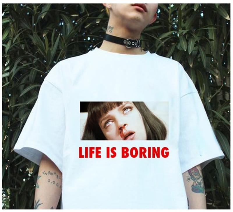 Parodia Harajuku Bianco Femminile T-Shirt 2017 t di Estate Della Novità Tee Shirt Femme Vita è Noioso Lettere Delle Donne di Stampa Tshirt