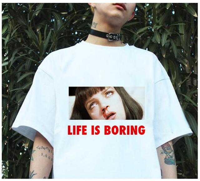 Spoof Harajuku White Female T-shirt 2017 T Summer Novelty Tee Shirt Femme Life is Boring Letters Print Women Tshirt