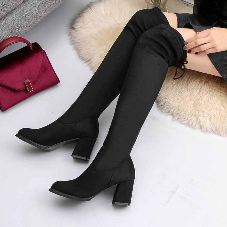 ผู้หญิงลำลองเหนือเข่ารองเท้าบูทรองเท้าผู้หญิงฤดูหนาวหญิงรอบ Toe Platform ส้นสูงปั๊ม Warm lady ต้นขารองเท้าบูทสูง