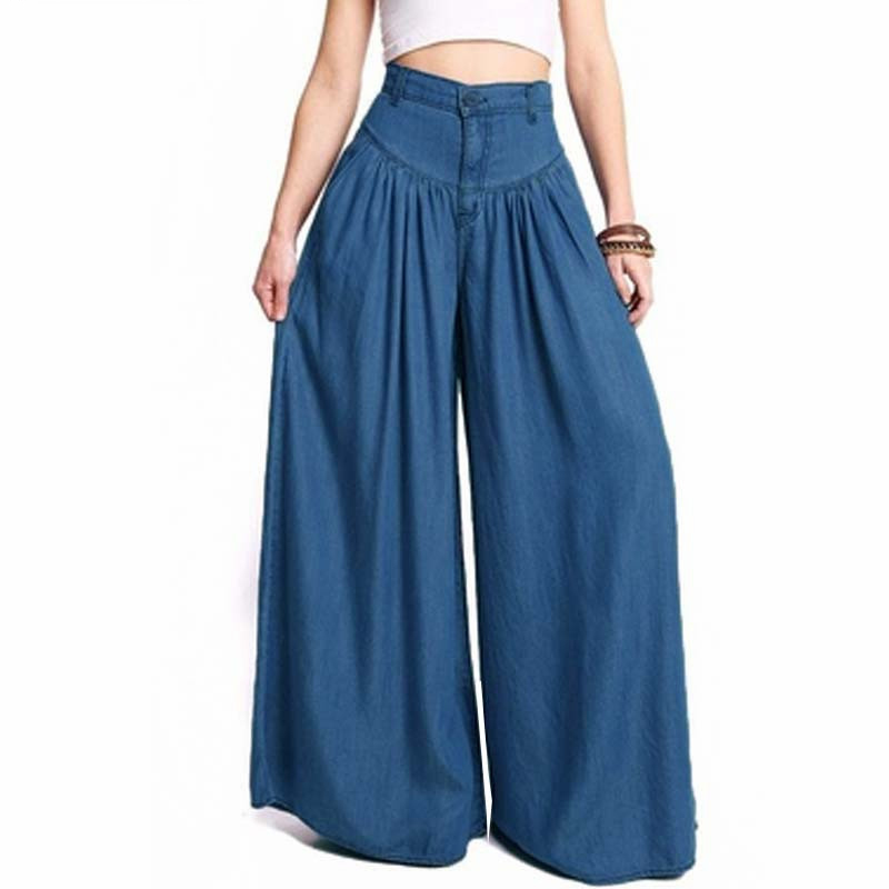2018 New Trousers Women High Waist Long Harem Pants Pockets Loose Pleated Denim Blue Wide Leg Pants Party Palazzo Plus Size