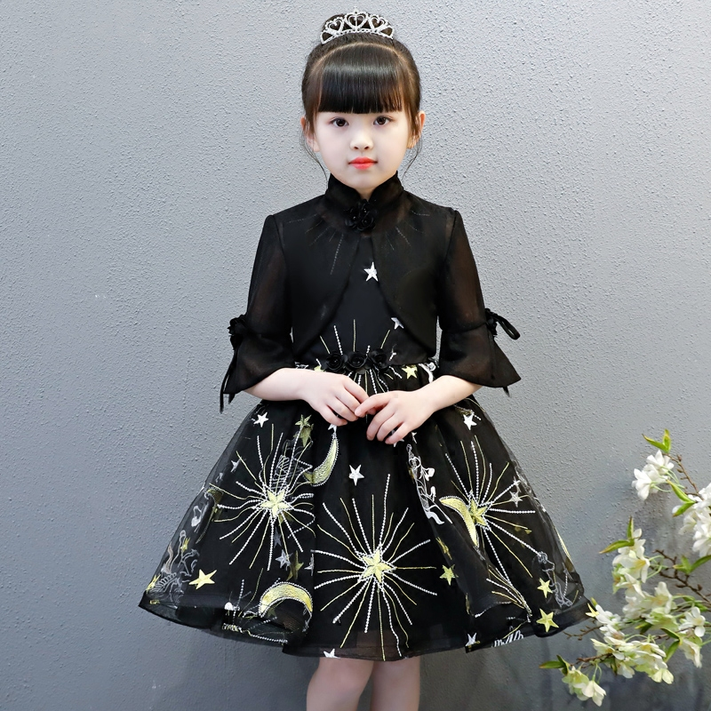 3T to 13T kids girls fashion summer lace princess birthday holiday party ball gown dresses children elegant black dress clothes 2017 new casual navy blue off shoulder girls knee length dress with bow summer cute striped kids dresses 3t 13t children clothes
