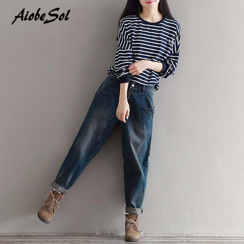 2017 Autumn Boyfriend   Jeans   Harem Pants Women Trousers Casual Plus Size Loose Fit Vintage Denim Pants High Waist   Jeans   3XL