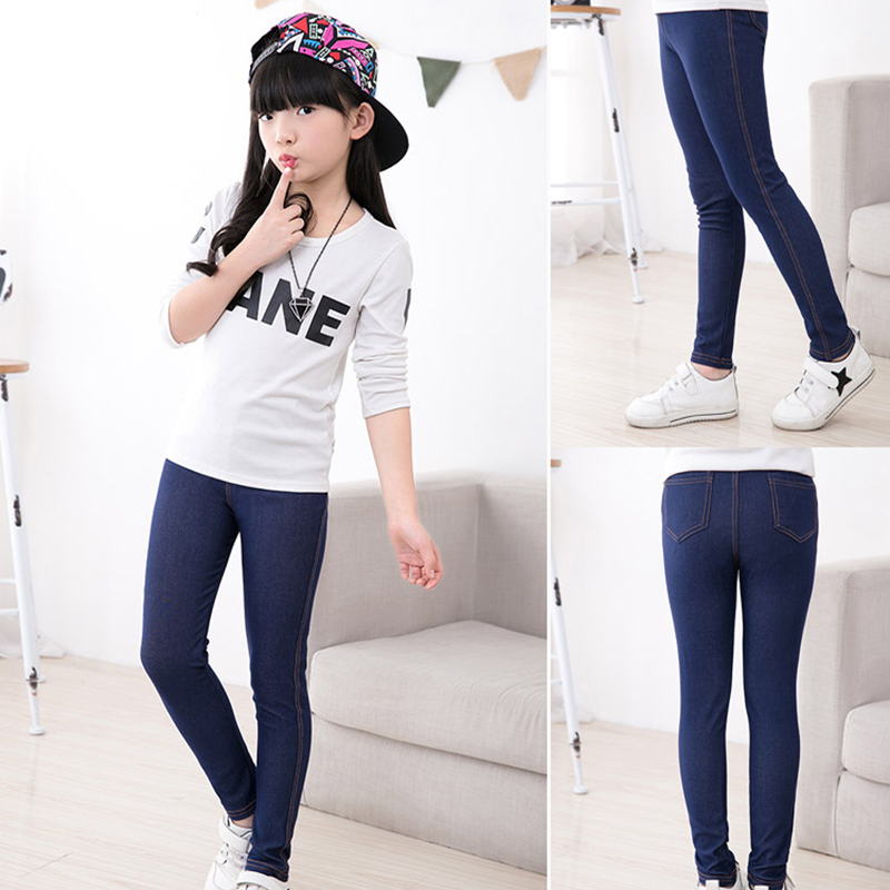 Spring Summer Girls Elastic Skinny Pants Solid Color Kids Stretch Trousers 3-12Yrs Children Lmitation Denim Fabric Jeans Pants 2
