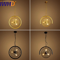 IWHD 3 Heads Iron Lampara Vintage Industrial Pendant Light Fixteres Style Loft Industrial Retro Lamp Fan