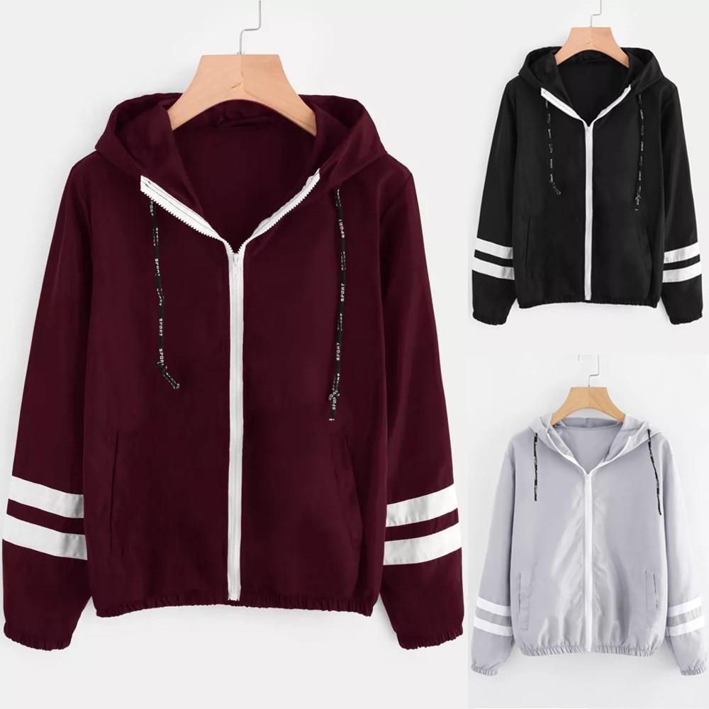 HTB1M6Z8U7zoK1RjSZFlq6yi4VXaR Patchwork Thin Skinsuits Hooded Jacket Women Long Sleeve Zipper Pockets Windbreaker Jacket 2019 Autumn Coat Sportswear W510