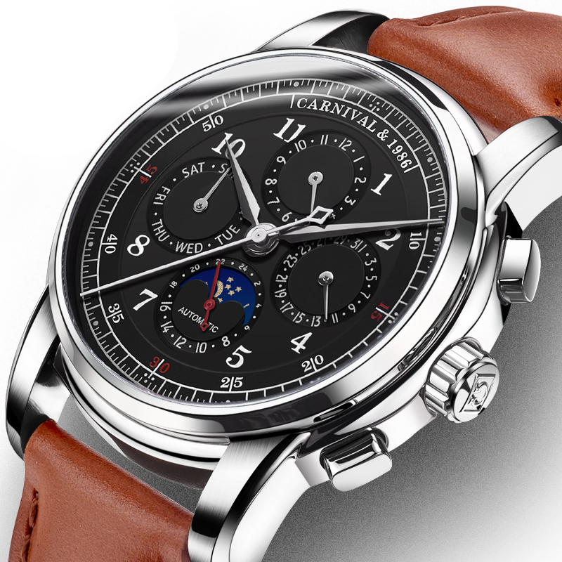 CARNIVAL Watch Men Automatic Mechanical Men Watches Luxury Brand relogio masculino Sapphire Moon phase Mens Watch C-8781-4