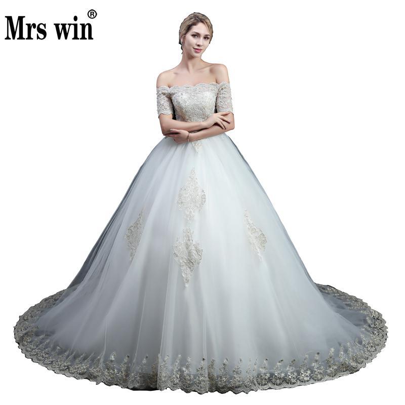 Vestido De Noiva Boat Neck Lace Ball Gown Wedding Dresses