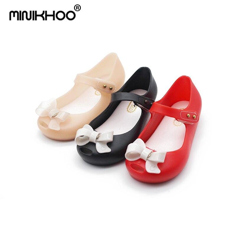 Mini Melissa 15cm-18.5cm Cute Bow Children Shoes Girl Jelly Sandals Children Princess Sandals Girl Shoes For Children Breathable