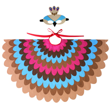 SPECIAL Peacock Scarf And Mask Bright Shawl Wedding Beauty Child Fairy Dance Show Girls Christmas Costume