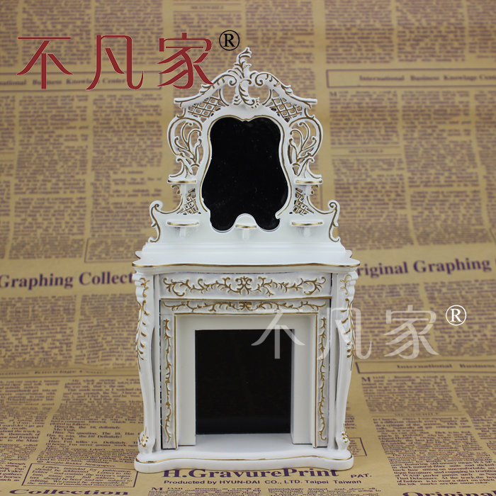 ФОТО Dolls house 1/12th Scale Miniature furniture Lovely Handmade Gold white Fireplace