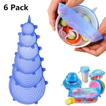 Tapas universales de silicona para alimentos, 6 paquetes de tapas flexibles de silicona para cuencos, cristalería, tapas colgantes de cocina, envío directo