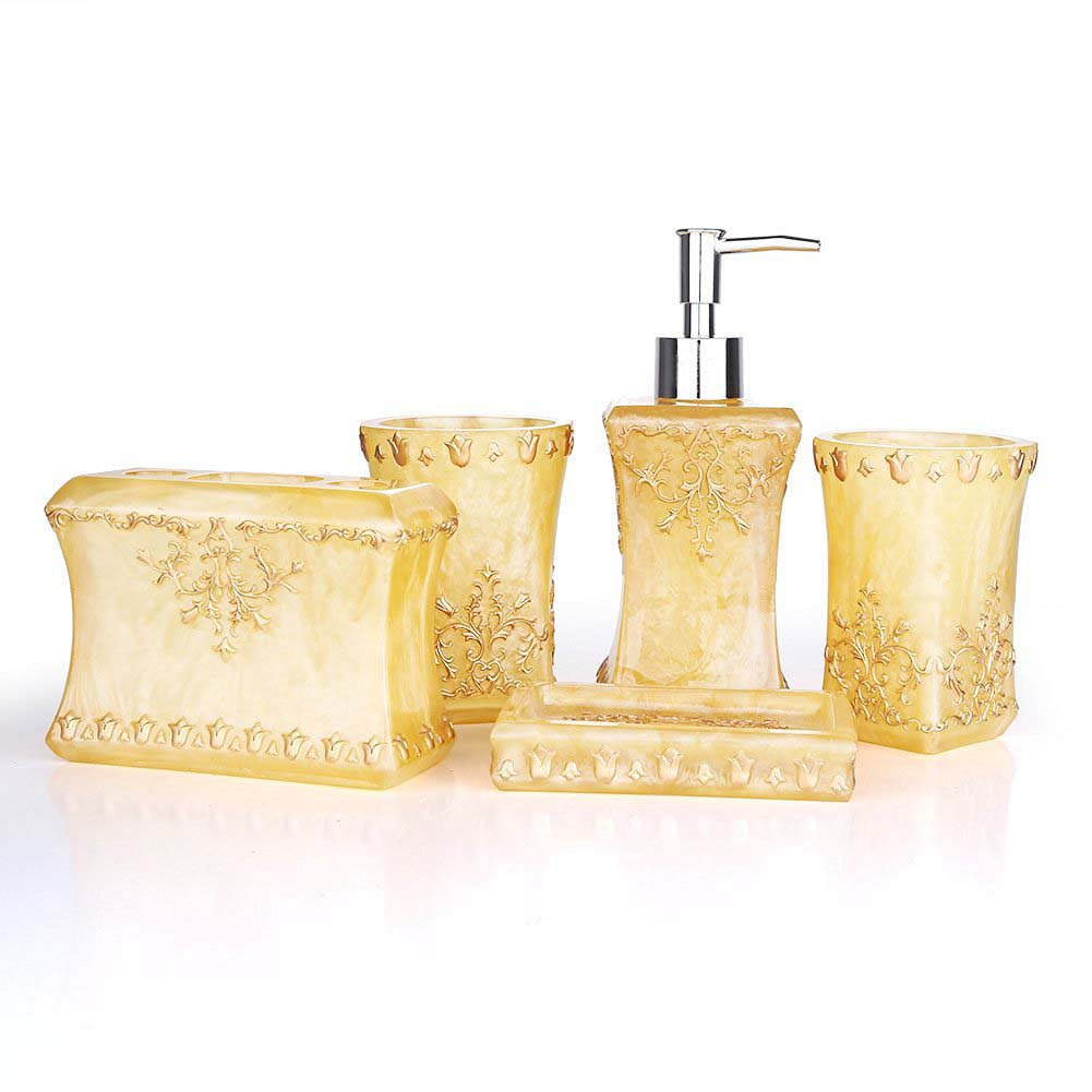Beautiful SZS Hot Beautiful Pearl Floral 5PCS Resin Bathroom Accessories Set Soap  Dispenser/Toothbrush Holder/Tumbler/Soap Dish Gold In Bathroom Accessories  Sets From ...