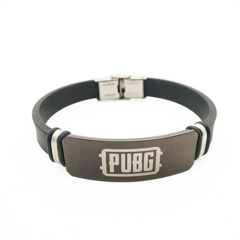 Jogo pubg cosplay pulseiras de aço inoxidável ajustável silicone id pulseiras de homem menino jóias