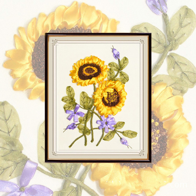 Golen Sunflower Pattern Painting Diy Ribbon Embroidery Easy Cross