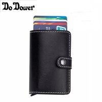 Rfid Wallets Antitheft Rfid Blocking Slim Mini Wallet Leather Aluminum Automatic Card Holder Pop Up Credit