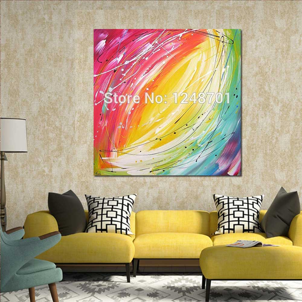 Hand Painted Color light modern abstract oil painting on Canvas ...