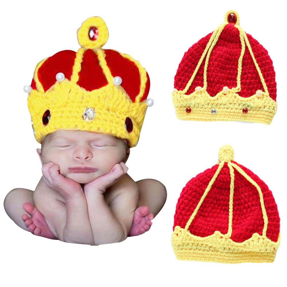 Handmade Crochet King Crown Baby Crystal Pearls Beanies Hats Caps Newborn Boy Girl Hat Photography Photo Costume Props B -MX8 newborn baby photography props infant knit crochet costume peacock photo prop costume headband hat clothes set baby shower gift