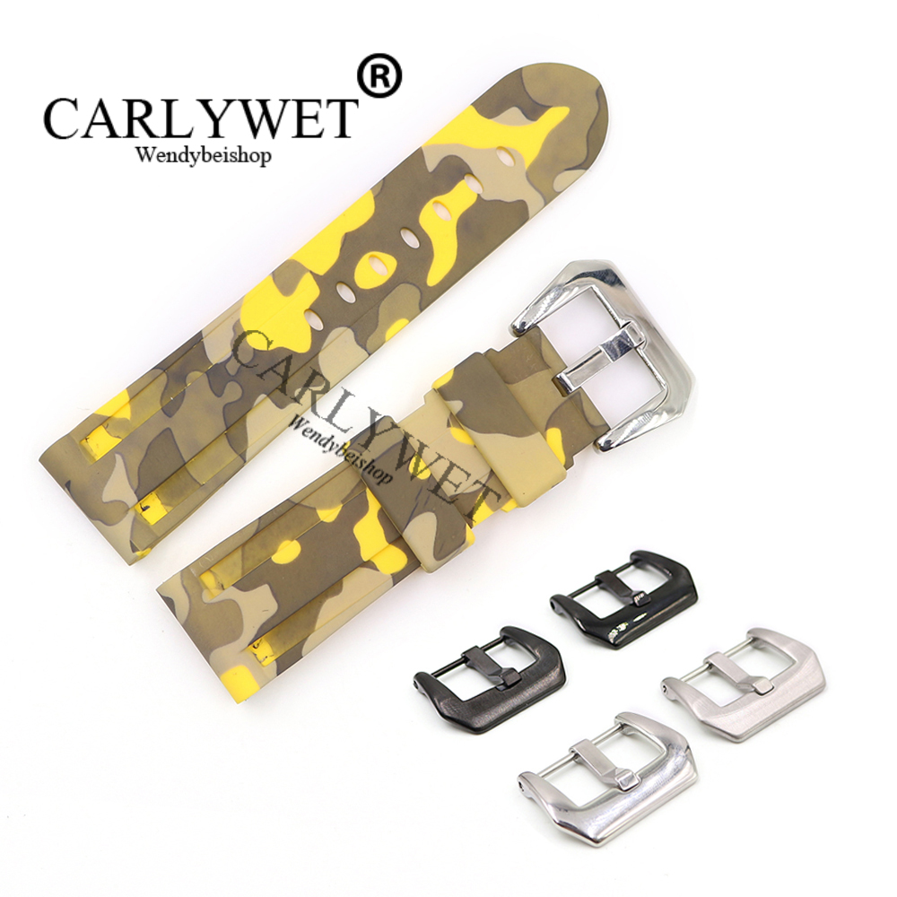 CARLYWET 24mm Camo yellow Waterproof Silicone Rubber Replacement Wrist Watch Band Strap Belt for Luminor in Watchbands from Watches