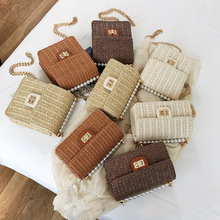 2019 INS New Fashion Rattan Bag Leather Hardware Buckle Straw Bags Portable Bamboo Woven Bag Beach Holiday Bag Bolsa Feminina fashion colorful pompom straw mini portable beach handbag bolsa feminina bag