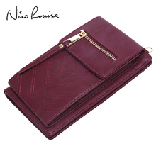 2018 Women Leather Shoulder Wallet Phone bag Case Female Mul