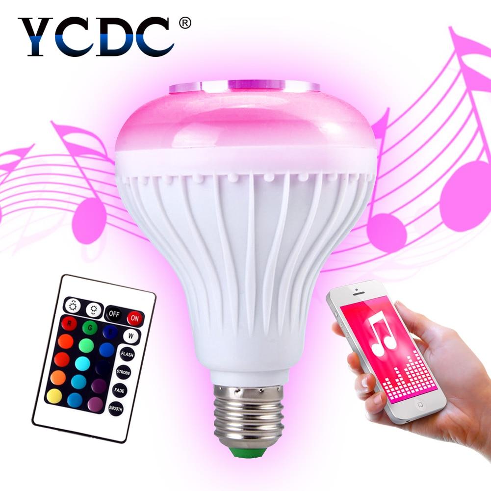 YCDC E27 Wireless Bluetooth Speaker +12W RGB Bulb LED Lamp 110V 220V Smart Led Light Music Player Audio with Remote Control цена