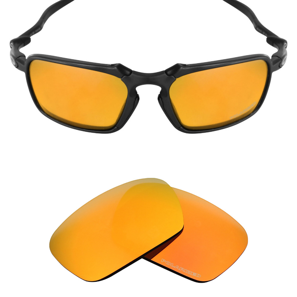 Mryok+ POLARIZED Resist SeaWater Replacement Lenses For Oakley Badman Sunglasses Fire Red