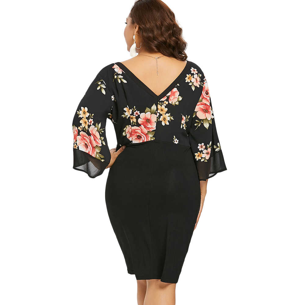 77a7671cdaf37 Wipalo Plus Size Bell Sleeve Low Cut Floral Bodycon Dress Women Plunging  Neck 3/4 Sleeve Summer Dresses Party OL Dress Vestidos