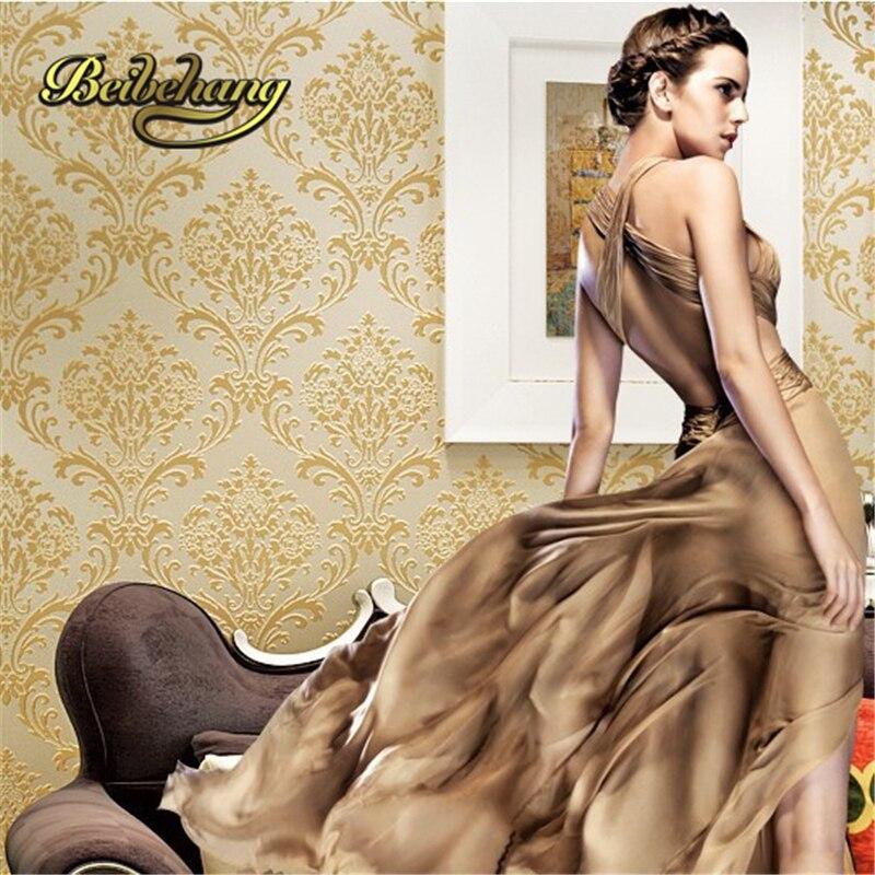 beibehang papel de parede European high-end 3D velvet non-woven wallpaper the living room backdrop bedroom 3d wall paper